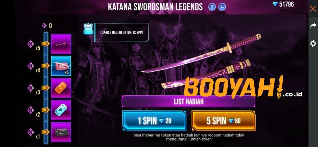 Dapatkan Katana Swordsman Legends di Event Spin FF Terbaru